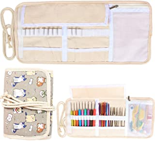 Damero New Canvas Crochet Hooks Wrap Knitting/Crochet Accessories Pouch Craft Tools Organizer Bag, Cartoon Cats-(Not Accessories Included)
