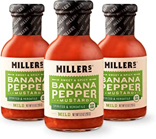 Miller's Banana Pepper Mustard, Non-GMO Project Verified, Mild, 9.5 Ounce (Pack of 3)