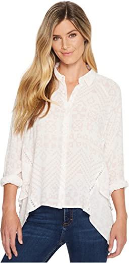 High-Low Button Long Sleeve Top
