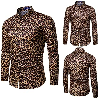 Mens Tops Casual Long Sleeve, Fashion Leopard Print Printed Blouse Slim Shirts Tops