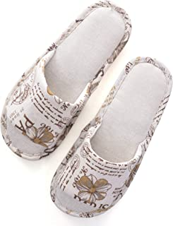 Hee grand Womens/Mens Slip on Cotton Printing House Slipper,Indoors Open Toe Slippers Causal Shoes,Khaki
