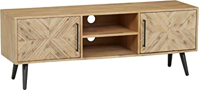 "Amazon Brand – Rivet Fulton Rustic Media Cabinet, 63""W, Natural Acacia Accents"