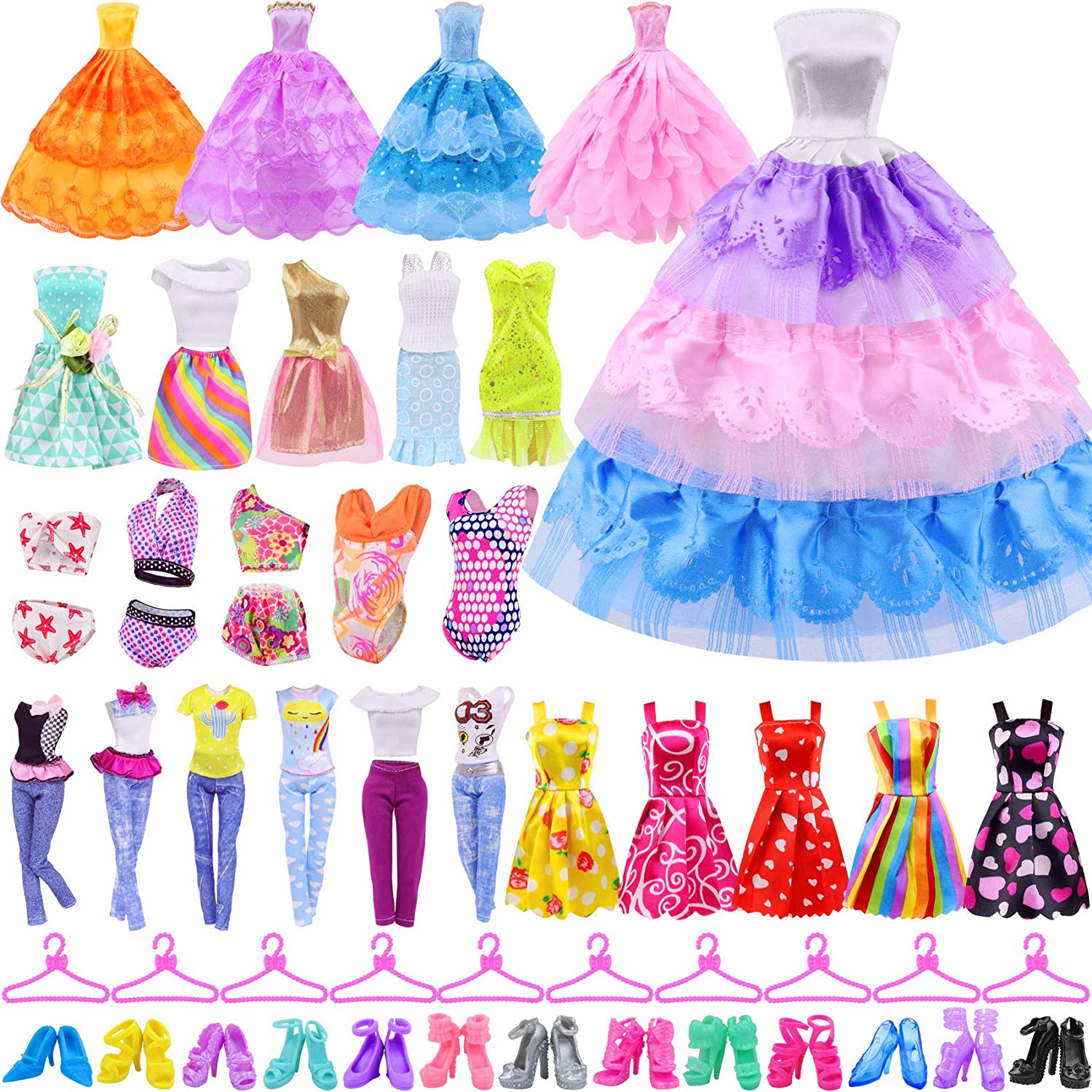 Ecore Fun 41 Don't miss the campaign PCS Doll Clothes 5 Accessories Fashio Long-awaited and Dresses