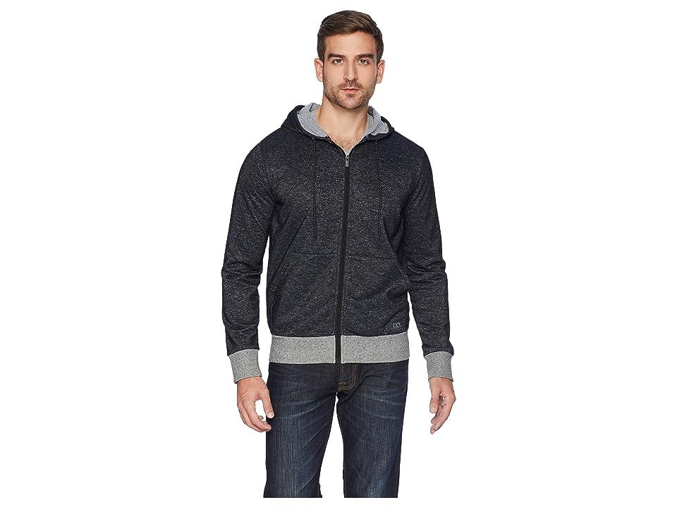 2(X)IST Athleisure Flecked Sport Asymmetrical Hooded Sweatshirt (Speckled Black) Men