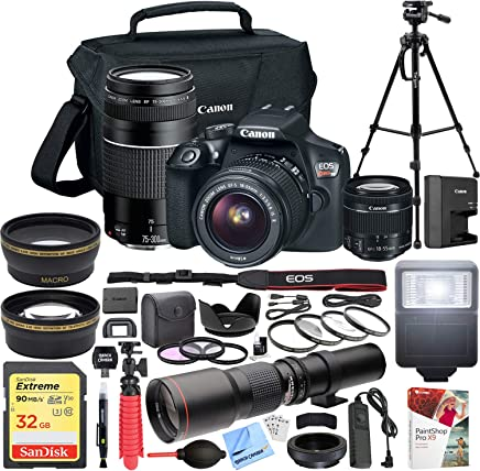 $559 Get Canon EOS Rebel T6 DSLR Camera with EF-S 18-55mm f/3.5-5.6 is II + EF 75-300mm f/4-5.6 III Dual Lens Kit + 500mm Preset f/8 Telephoto Lens + 0.43x Wide Angle, 2.2X Pro Bundle