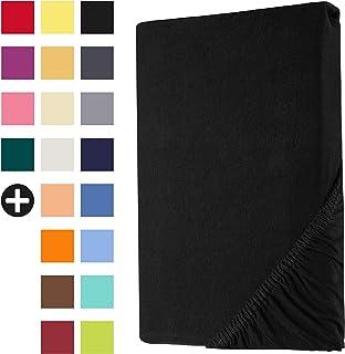 Heim24h® Drap-Housse revêtement Matelas Noir 140x200-160x200 cm d'une Hauteur de 18 à 30 cm 100% Coton Qualité Supérieur E...