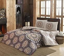 Eponj Home Libra Brown and Beige Double Size Duvert Cover : 200 x 200 cm Pillowcase : 50/80 cm - 2 Pieces