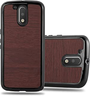 Cadorabo Case Works with Motorola Moto G4 / G4 Plus in Woody Coffee – Shockproof and Scratch Resistent Plastic Hard Cover – Ultra Slim Protective Shell Bumper Back Skin