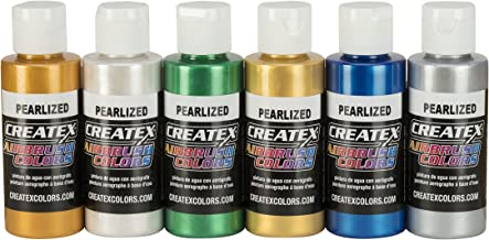 Createx Colors 5804-00 Createx Pearl Airbrush Set, Assorted Colors, 2 oz, 6 Pieces, 2 Ounce, Multicolor