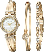 Anne Klein Women's AK/1868GBST Swarovski Crystal-Accented Gold-Tone Bangle Watch and Bracelet Set