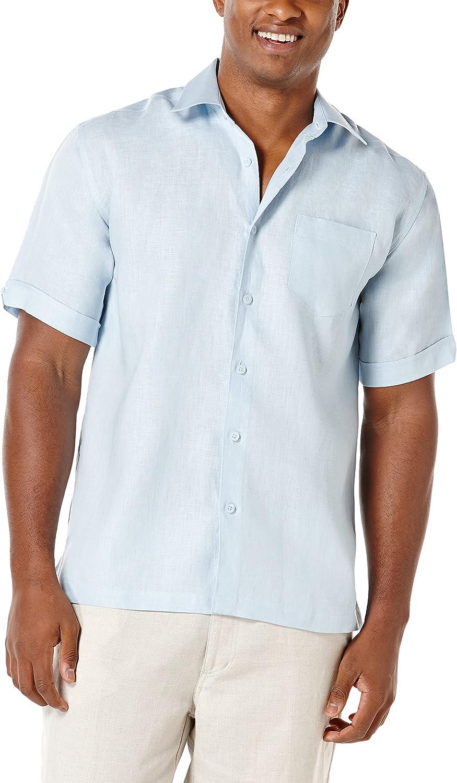 Cubavera Big and Tall Chest Pocket Solid Short-Sleeve 100% Linen Woven Shirt
