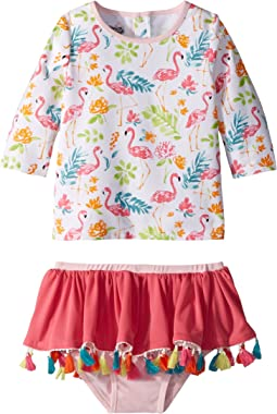 Mud Pie Floral Flamingo Rashguard Two-Piece Swimsuit (Toddler)
