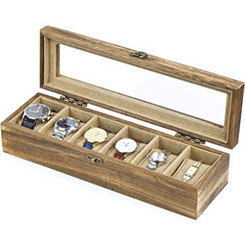 SRIWATANA Watch Box Case Organizer Display for Men Women, 6 Slot Wood Box with Glass Top, Vintage Style