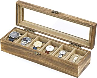 SRIWATANA Watch Box 6 Slot Watch Case, Watch Box Organizer for Men Women, Wood Display Case with Glass Lid, Vintage Style