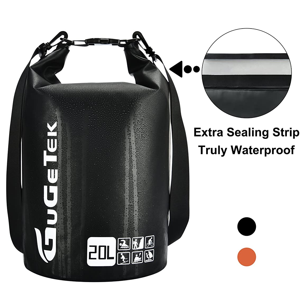 GuGeTek Waterproof Dry Bag Backpack 10L 20L Submersible Floating Roll Top Dry Compression Sack for Kayaking Beach Camping Hiking and Other Water Sports