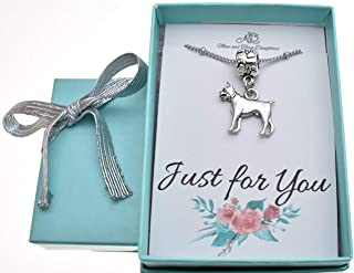 Boxer dog in silver pewter Charm Necklace. Boxer necklace. Boxer charm. Boxer Jewelry.
