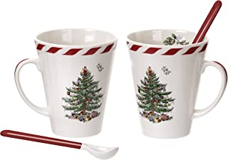Spode Christmas Tree Peppermint Mugs with Spoons, Set of 2