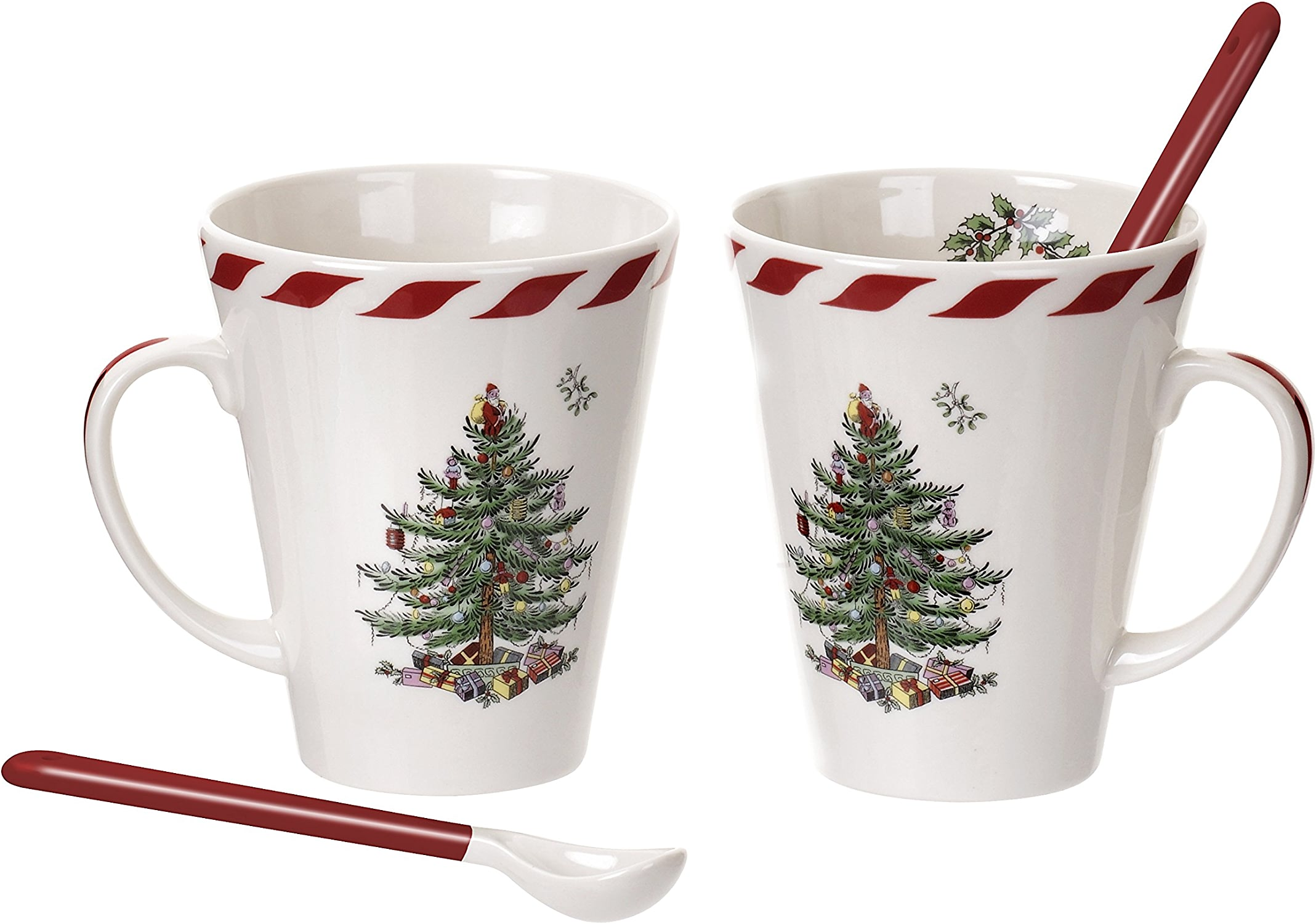 Spode Christmas Tree Peppermint Mugs with Spoons, Set of 2 by Spode