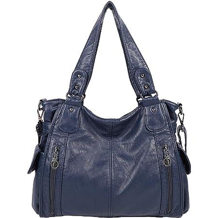 Bolsos de Mujer Bandolera,Bolso Señora Multi-Bolsillo Cuero PU Bolso Shopper Crossbody Bag Bolsos de Hombro para Casual,Diario,Trabajo,Azul