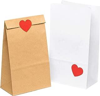 100 piezas Bolsas de Papel Regalo con ❤ pegatinas 14 x 26 x 8 cm - Bolsa Biodegradable Regalos Comunión para Invitados o para Guardar Comida, Semillas Flores, Dulces, Chuches, Pan - Bolsitas Kraft