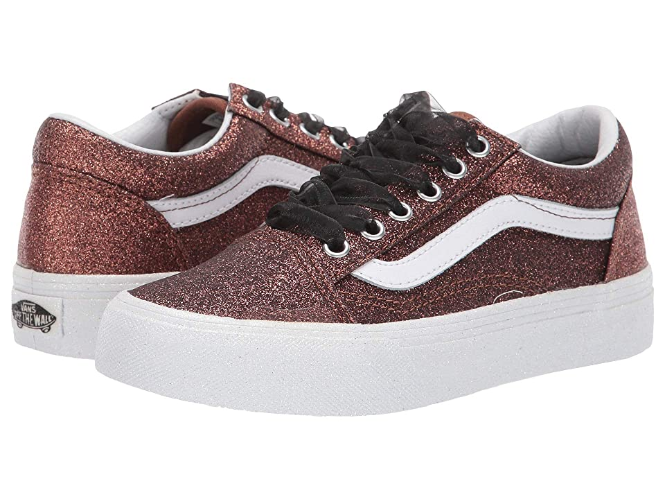Vans Kids Old Skool (Little Kid/Big Kid) ((Glitter) Bronze/True White) Girls Shoes