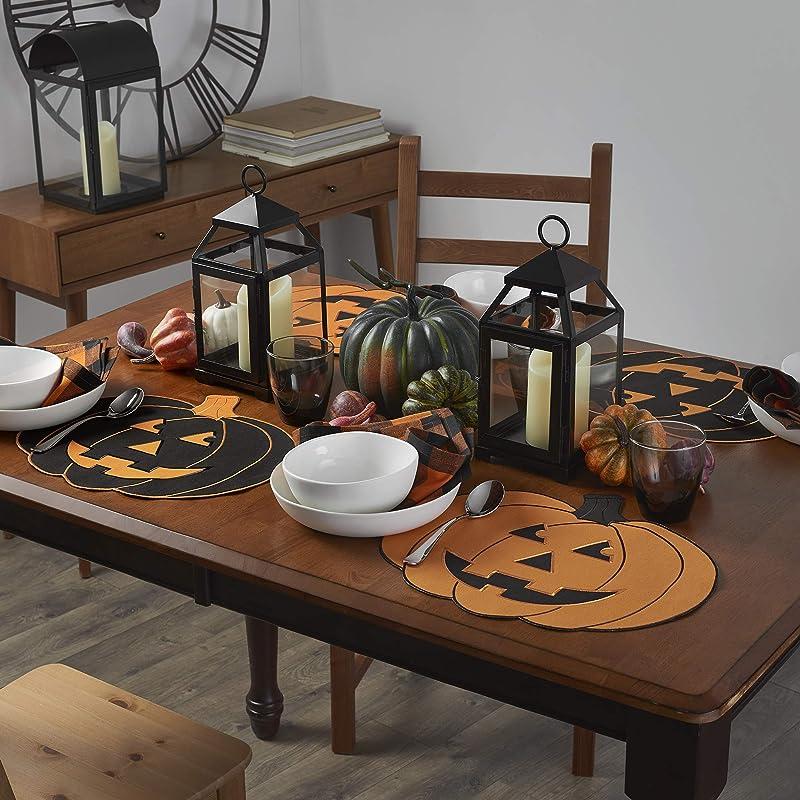 Elrene Home Fashions Farmhouse Living Fall Jack O Lantern Pumpkin Placemats Set Of 4 14 X 16 Black Orange