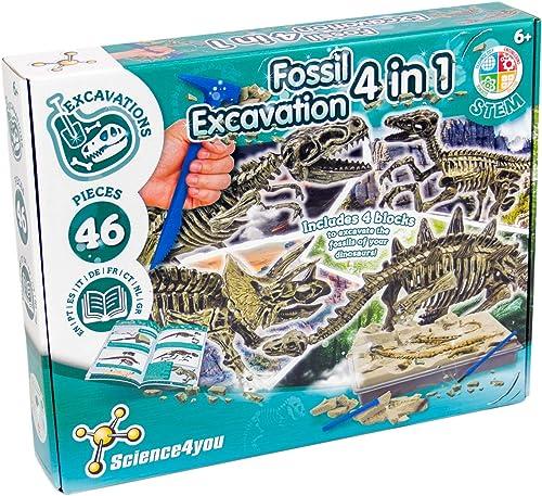 Science4you - Kit de Fouille de Fossiles 4 en 1 pour enfants +6 Ans - Excaver et assembler 4 dinosaures, 46 pièces: T...