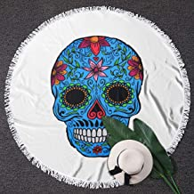 Sugar Skull Round Beach Towel Yoga Picnic Mat Roundie Tablecloth Water Absorbent Terry Towel with Tassels