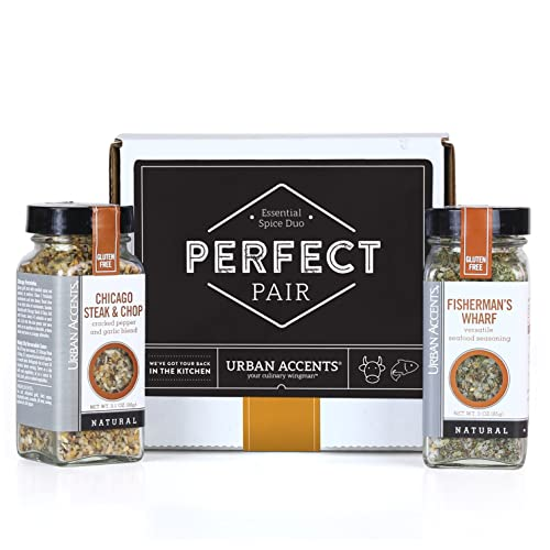 Urban Accents PERFECT PAIR, Essential Gourmet Spices Gift Set (Set of 2) - Two All Natural Versatile Spice Blends Perfect for any Meal- Great Gift for Weddings, Housewarmings or Any Occasion