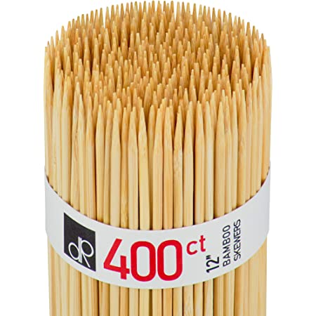 DecorRack Natural Bamboo Skewer Sticks, 400 Pack of 12 inch Natural Wood Barbecue Kabob Skewers, Best for Grill, BBQ, Kebab, Marshmallow Roasting or Fruit Sticks