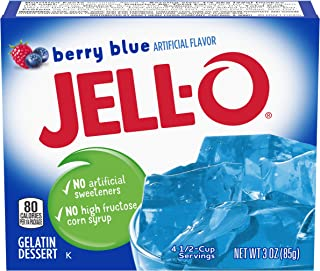JELL-O Berry Blue Gelatin Dessert Mix (3 oz Boxes, Pack of 24)