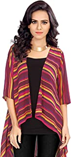 Serein Women's Shrug (Multicolor Striped Georgette Shrug/Jacket with 3/4th Sleeve)