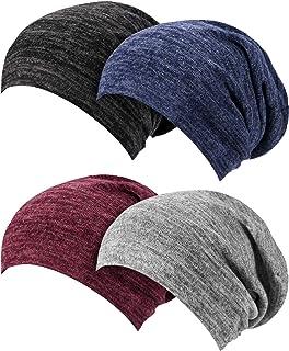 SATINIOR 4 Pieces Satin Lined Sleep Cap Slouchy Beanie Slap Hat for Women