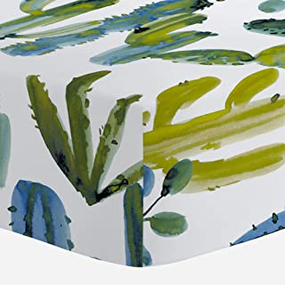Carousel Designs Blue Painted Cactus Crib Sheet - Organic 100% Cotton Fitted Crib Sheet - Made in The USA