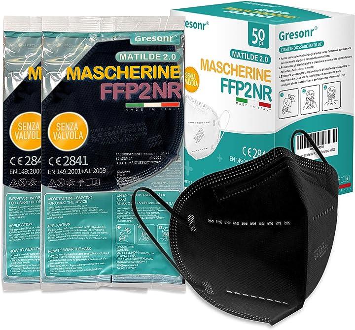 Mascherine ffp2 certificate ce efficienza di filtraggio 95% gresonr - 50 pezzi B08VD7RPN5