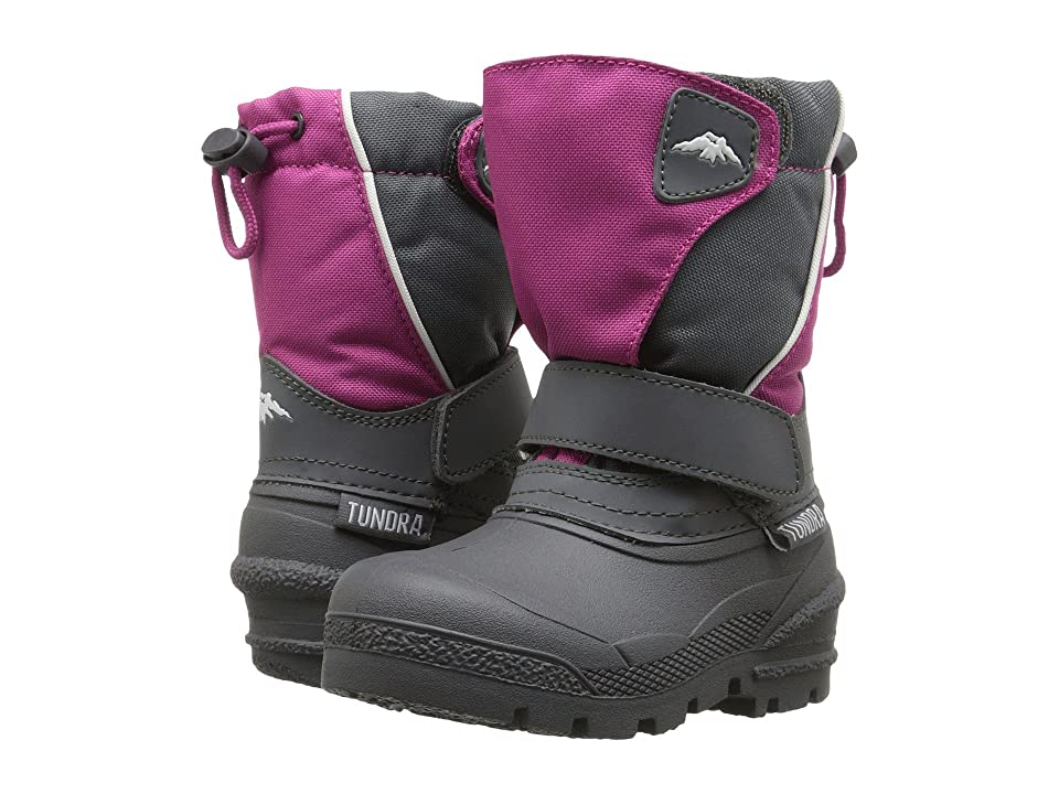 Tundra Boots Kids Quebec (Toddler/Little Kid/Big Kid) (Pink/Charcoal) Girls Shoes