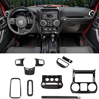 RT-TCZ Carbon Fiber Interior Decoration Trim Kit,Trim for Jeep Wrangler JK JKU 2011-2017 4 Door (10PCS)