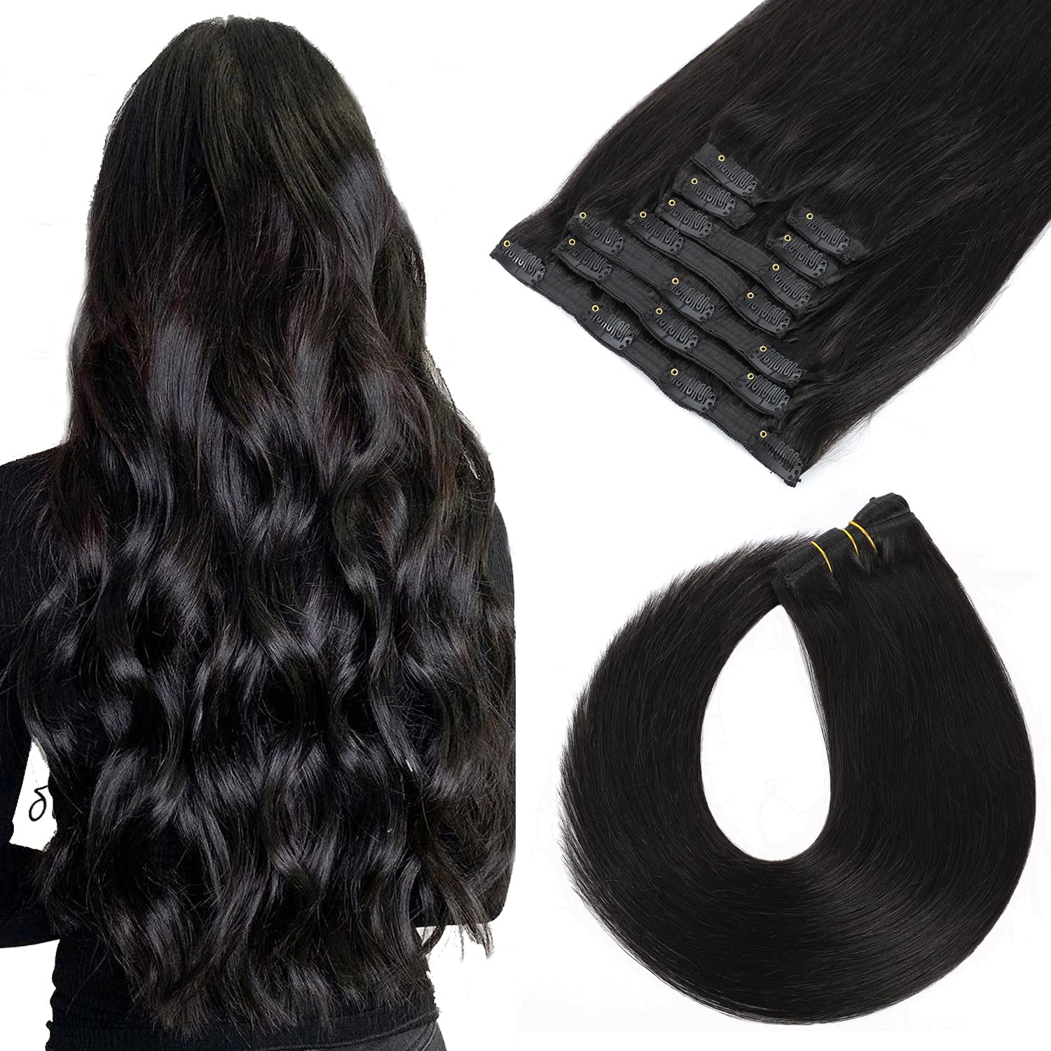 Clip in Human Hair Extensions Natural Inch Black 14 Inventory Sales of SALE items from new works cleanup selling sale 9pcs 120g Cl