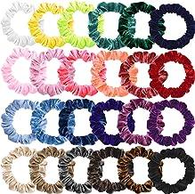 Small Scrunchies for Hair, Funtopia 24 Pcs Colorful Velvet Hair Ties for Thick Hair, Soft Mini Velvet Hair Scrunchies Elas...