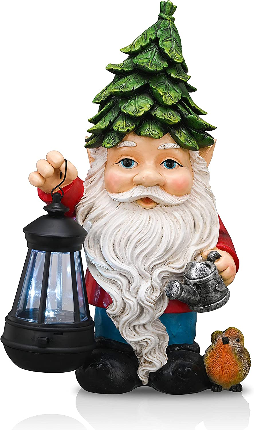 TERESA'S COLLECTIONS Large Garden Gnome Statue with Solar Powered Lights, Resin Outdoor Gnome Figurine Lawn Ornaments Holding Lantern for Patio Yard Decoration ,12 Inch