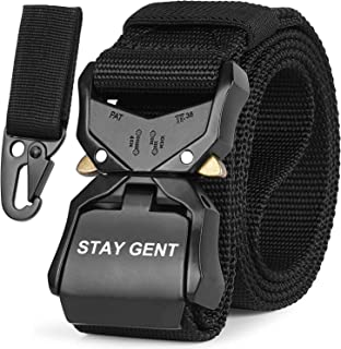 STAY GENT Tactical Belt for Men, Black Quick Release Military Style Belts with Buckle, Heavy Duty Nylon Webbing Work Belt ...