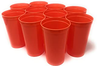 CSBD Stadium 22 oz. Plastic Cups, 10 Pack, Blank Reusable Drink Tumblers for Parties, Events, Marketing, Weddings, DIY Projects or BBQ Picnics, No BPA, (10, Orange)