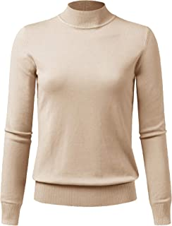 JSCEND Women's Mock Neck Long Sleeve Solid Basic Soft Stretch Pullover Knit Sweater