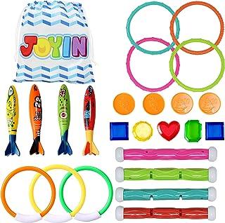 JOYIN 24 Pcs Diving Pool Toys Set with Bonus Storage Bag Includes 7 Diving Rings, 4 Diving Sticks, 4 Toypedo Bandits and 9...