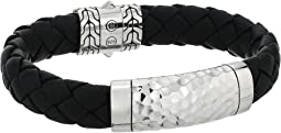 Classic Chain 12mm Hammered Station Black Leather Bracelet