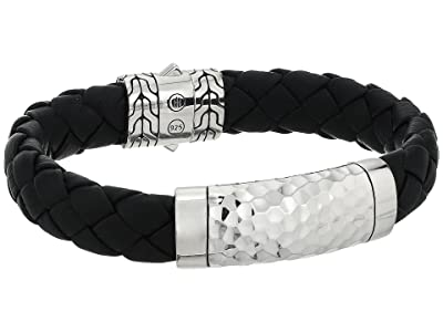 John Hardy Classic Chain 12mm Hammered Station Black Leather Bracelet (Hammered Silver) Bracelet