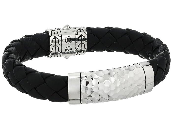 John Hardy  Classic Chain 12mm Hammered Station Black Leather Bracelet (Hammered Silver) Bracelet