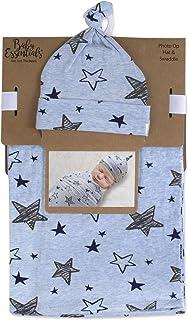 Manta de algodón suave con gorro o gorro a juego para recién nacidos y bebés (estrellas)