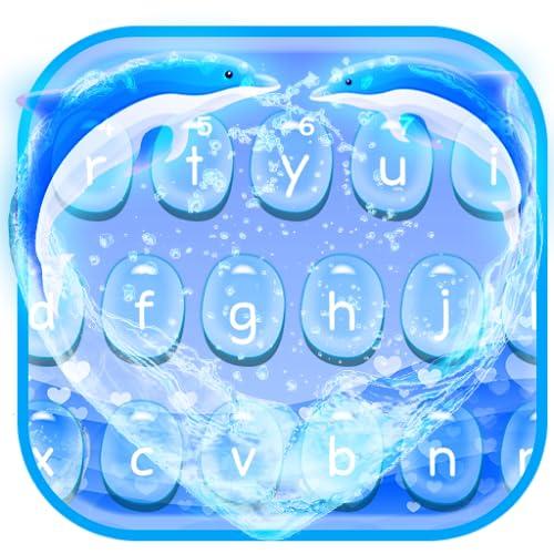 Blue Dolphin Heart Keyboard Theme