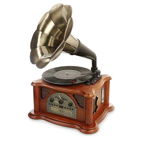 Ricatech RMC350 Legend Music Centre 5 en 1 con trompeta vintage   Tocadisco de 3 velocidades y altavoces incorporados, reproductor de CD, ranura USB y SD, radio AM/FM y Line-In entrada para otros dispositivos de audio